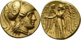 AV Stater ca. 311–300 BC, ALEXANDER III the Great (POSTHUMOUS), Macedonian Kingdom Babylon under Seleukos I. Head of Athena right, wearing crested Cor...