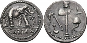 AR Denarius 49-48 BC, C. JULIUS CAESAR Elephant right trampling snake, CAESAR in exergue. Rev. priestly attributes.Coh. 49; Cr. 443.1; Syd. 1006. 3.82...