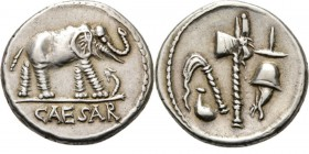 AR Denarius 49-48 BC, C. JULIUS CAESAR Elephant right trampling snake, CAESAR in exergue. Rev. priestly attributes. Coh. 49; Cr. 443.1; Syd. 1006.3.96...