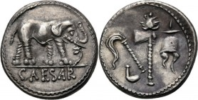 AR Denarius 49-48 BC, C. JULIUS CAESAR Elephant right trampling snake, CAESAR in exergue. Rev. priestly attributes.Coh. 49; Cr. 443.1; Syd. 1006.4.07 ...