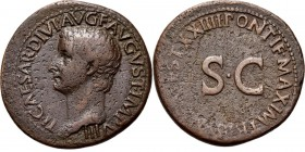 Æ As 22–23 AD, TIBERIUS 14–37 AD Bare head left TI CAESAR DIVI AVG F AVGVST IMP VIII. Rev. TRI(BVN POT)EST XXIIII PONTIF MAXIM around large S.C.RIC 44...