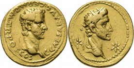 AV Aureus 37-38 AD, CALIGULA 37–41 AD Lugdunum. Bare head right C· CAESAR· AVG· GERM· P·M· TR· POT· COS. Rev. radiate head of Augustus right between t...