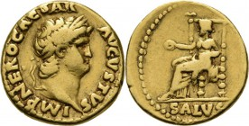 AV Aureus ca. 66/67 AD, NERO 54–68 AD Rome. Laureate head right IMP NERO CAESAR AVGVSTVS. Rev. Salus seated left holding patera SALVS.RIC 66 (1923:53)...
