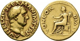 AV Aureus 69 AD, VITELLIUS 69 AD Rome. Laureate head right A VITELLIVS GERMAN IMP TR P. Rev. Concordia seated left, holding patera and cornucopia CONC...