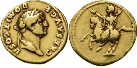 AV Aureus 73 AD, VESPASIANUS and DOMITIANUS Rome. Laureate head right CAES AVG F DOMIT COS II. Rev. Domitian riding left, raising right hand and holdi...