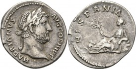 AR Denarius Rome 134–138 AD, HADRIANUS 117–138 AD Laureate head right HADRIANVS AVG COS III PP. Rev. Hispania reclining left, holding olive-branch, in...