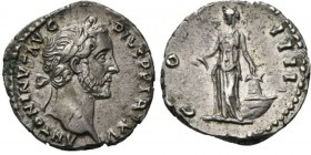 AR Denarius Rome 151–152 AD, ANTONINUS PIUS 138–161 AD Laureate head right ANTONINVS AVG PIVS PP TRP XV. Rev. Annona standing left, holding corn-ears ...