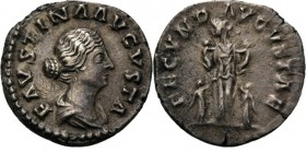 AR Denarius n.d, FAUSTINA Junior wife of M. Aurelius Draped bust right FAVSTINA AVGVSTA. Rev. Fecunditas standing left between two girls and holding t...