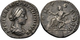 AR Denarius n.d, LUCILLA wife of L. Verus Draped bust right LVCILLAE AVG ANTONINI AVG F. Rev. Concordia seated left, holding patera and resting her el...