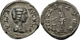 AR Denarius Rome 196–211 AD, JULIA DOMNA wife of Sept. Severus Draped bust right IVLIA AVGVSTA. Rev. Pietas standing left, veiled, dropping incense on...