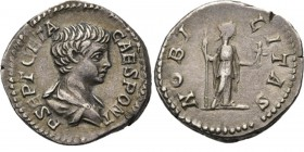 AR Denarius Rome 199 AD, CARACALLA and GETA Draped bust right P SEPT GETA CAES PONT. Rev. Nobilitas standing right holding sceptre and palladium NOBIL...