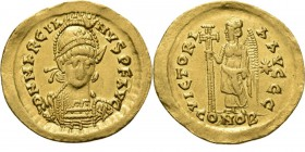 AV Solidus n.d, MARCIANUS 450–457 AD Constantinople. Helmeted and cuirassed bust facing holding spear and shield. Rev. Victory with long cross left VI...