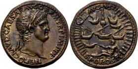 Æ Sestertius n.d, PADUANS Imitation by Giovanni Cavina. Laureate head Nero right. Rev. harbour of Ostia.Vgl. Coh. 33-41.28.63 g Very fine +