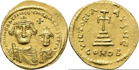 AV Solidus n.d, HERACLIUS with HER. CONSTANTINUS 613–641 Draped busts facing, wearing simple crown with cross. Rev. cross potent on base and three ste...