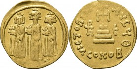 AV Solidus n.d, HERACLIUS with HER. CONSTANTINUS and HERACLONAS 638–641 Heraclonas, Heraclius, and Heraclius Constantine standing facing, each crowned...