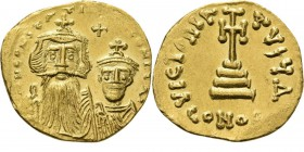 AV Solidus n.d, CONSTANS II with his son CONSTANTINUS IV 654–659 Bust of bearded Constans left with beardless Constantine IV right, cross inbetween. R...