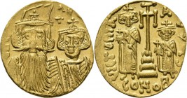AV Solidus n.d, CONSTANS II with his son CONSTANTINUS IV 654–659 Facing busts of Constans waering plumed helmet and Constantine IV. Rev. cross potent ...