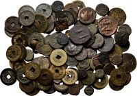 Lot Miscellaneous (100+) Consisting of some late fourth century Roman bronzes, Byzantine coins, Asian coins etc. etc. On average Fine