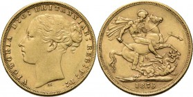 Australia - Sovereign 1876 M, Gold, VICTORIA 1837–1901 Melbourne mint. Young head to left. Rev. St. George. S. 3857; KM. 7; Fr. 16.7.97 g Very fine/Ve...