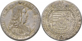Austria - Schraubtaler 1654/1680, Silver, ERZHERZOG FERDINAND CARL 1632–1662, HABSBURGISCHE ERBLANDE Armoured bust right. Rev. crowned arms within Ord...