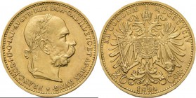 Austria - 20 Corona 1894, Gold, FRANZ JOSEPH I 1848–1916 Laureated head to right. Rev. crowned double-headed eagle. KM. 2806 (616); Fr. 504.6.76 g Ver...