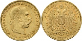 Austria - 10 Corona 1905, Gold, FRANZ JOSEPH I 1848–1916 Laureated head to right. Rev. crowned double-headed eagle. KM. 2805 (615); Fr. 506 (423).3.37...