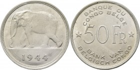 Belgian Congo - 50 Francs 1944, Silver, LEOPOLD III 1934–1950 African elephant left, date below. Rev. denomination flanked by stars, legend above and ...