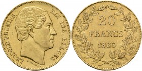 Belgium - 20 Francs 1865, Gold, LÉOPOLD I 1831–1865 Head right. Rev. denomination in wreath. L WIENER below head. Position B.NBFB-208; Fr. 411; KM. 23...