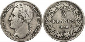 Belgium - 5 Francs 1848, Silver, LÉOPOLD I 1831–1865 Head left. Rev. denomination within wreath. Pos A.KM. 3.2; NBFB-123.24.77 g. Cleaned Very fine