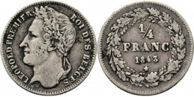 Belgium - 1/4 Franc 1843, Silver, LÉOPOLD I 1831–1865 Head left. Rev. denomination within wreath.KM 8; NBFB-51 Very fine +