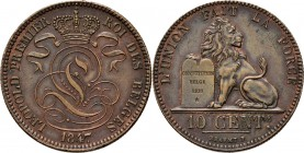 Belgium - 10 Centimes 1847 over 1837, Copper, LÉOPOLD I 1831–1865 French. Crowned monogram. Rev. lion with tablet.KM. 2.1; NBFB-31; Bogaert 346C R Ext...