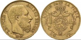Belgium - 20 Francs 1867, Gold, LEOPOLD II 1865–1909 Bare head to right. Rev. crowned and mantled arms. Pos. A.Fr. 412; KM. 32; NBFB-2096.42 g Almost ...