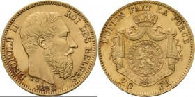 Belgium - 20 Francs 1868, Gold, LEOPOLD II 1865–1909 Bare head to right. Rev. crowned and mantled arms. Pos. A.Fr. 412; KM. 32; NBFB-2116.44 g Very fi...