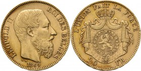 Belgium - 20 Francs 1869, Gold, LEOPOLD II 1865–1909 Bare head to right. Rev. crowned and mantled arms. Pos. A.Fr. 412; KM. 32; NBFB-2096.42 g Nearly ...