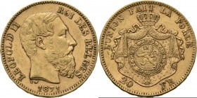 Belgium - 20 Francs 1871, Gold, LEOPOLD II 1865–1909 Bare head to right. Rev. crowned and mantled arms. Pos. A.Fr. 412; KM. 37; NBFB-2166.44 g Very fi...