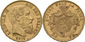 Belgium - 20 Francs 1874, Gold, LEOPOLD II 1865–1909 Bare head to right. Rev. crowned and mantled arms. Pos. A.Fr. 412; KM. 37; NBFB-2166.43 g Very fi...