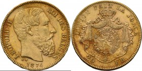 Belgium - 20 Francs 1874, Gold, LEOPOLD II 1865–1909 Bare head to right. Rev. crowned and mantled arms. Pos. A.Fr. 412; KM. 37; NBFB-214 Type VI. 6.42...