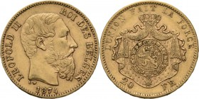 Belgium - 20 Francs 1874, Gold, LEOPOLD II 1865–1909 Bare head to right. Rev. crowned and mantled arms. Pos. A.Fr. 412; KM. 37; NBFB-2166.41 g Very fi...