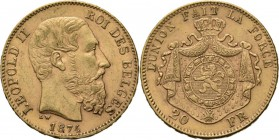 Belgium - 20 Francs 1874, Gold, LEOPOLD II 1865–1909 Bare head to right. Rev. crowned and mantled arms. Pos. A.Fr. 412; KM. 37; NBFB-2166.44 g Very fi...