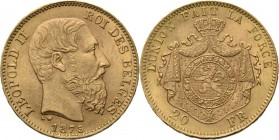 Belgium - 20 Francs 1875, Gold, LEOPOLD II 1865–1909 Bare head to right. Rev. crowned and mantled arms. Pos. A.Fr. 412; KM. 37; NBFB-2166.44 g Nearly ...