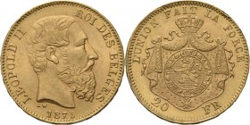 Belgium - 20 Francs 1875, Gold, LEOPOLD II 1865–1909 Bare head to right. Rev. crowned and mantled arms. Pos. A.Fr. 412; KM. 37; NBFB-2166.45 g. Edge n...