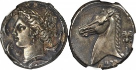 SICILY. Siculo-Punic. AR Tetradrachm (17.16 gms), ca. 320-300 B.C. NGC AU, Strike: 5/5 Surface: 4/5. Fine Style.