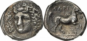 THESSALY. Larissa. AR Didrachm (11.18 gms), ca. 395-344 B.C. NGC EF, Strike: 4/5 Surface: 2/5. Light Smoothing.