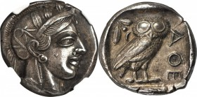 ATTICA. Athens. AR Tetradrachm (17.15 gms), ca. 440-404 B.C. NGC Ch EF, Strike: 5/5 Surface: 2/5. Smoothing.
