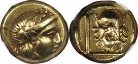 LESBOS. Mytilene. EL Hekte (2.53 gms), ca. 377-326 B.C. NGC EF, Strike: 3/5 Surface: 4/5.