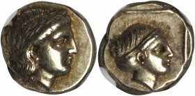 LESBOS. Mytilene. EL Hekte (2.55 gms), ca. 377-326 B.C. NGC AU, Strike: 5/5 Surface: 5/5.
