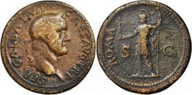GALBA, A.D. 68-69. AE Sestertius (25.71 gms), Rome Mint, ca. A.D. 68. NEARLY EXTREMELY FINE.