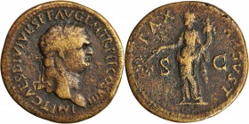 TITUS, A.D. 79-81. AE Sestertius (25.07 gms), Thrace Mint, ca. A.D. 80-81. NEARLY EXTREMELY FINE.