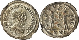 CARINUS AS CAESAR, A.D. 282-283. BI Aurelianianus (4.24 gms), Antioch Mint. NGC MS, Strike: 4/5 Surface: 4/5. Silvering.