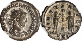 CARINUS AS CAESAR, A.D. 282-283. BI Aurelianianus (3.71 gms), Antioch Mint. NGC MS, Strike: 5/5 Surface: 4/5. Silvering.
